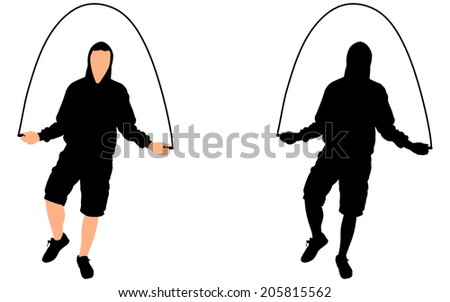 Young man exercising jumping rope, vector - stock vector
