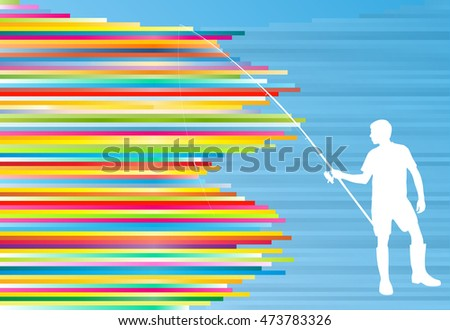 Young man fishing vector abstract background illustration