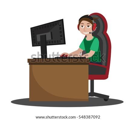 Internet Troll Using Computer Vector Illustration Stock
