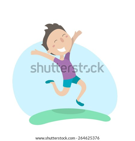 Young man happily jumping. Flat illustration, vector image  - stock vector