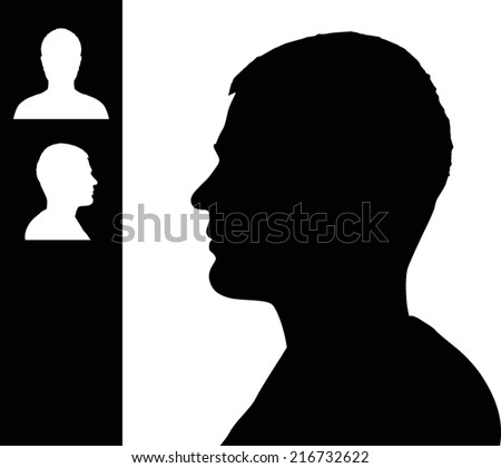 Young man head silhouette - stock vector
