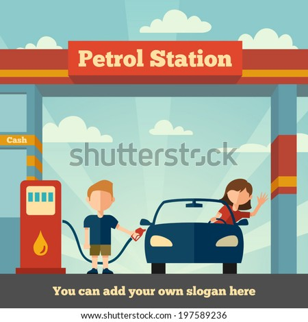 Young man helps girl to fuel her car. The Petrol station concept - stock vector