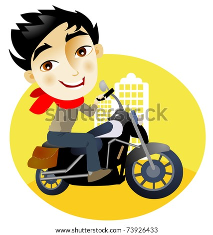 Young man in a motorcycle in the city