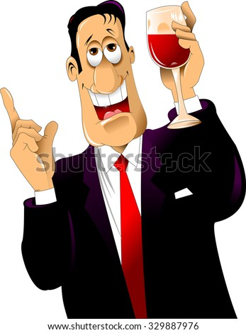 young man in a suit with a glass of red wine - stock vector