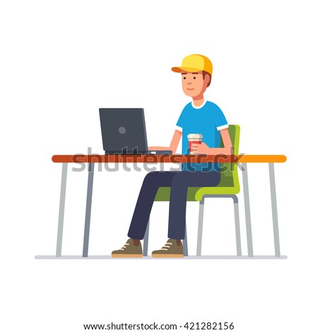 Young man in baseball cap working on a black laptop computer at his clean office desk. Flat style color modern vector illustration. - stock vector