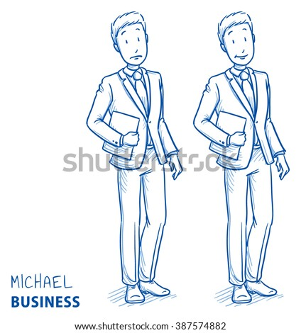 Young man in business suit holding a book or files in two emotions happy and surprised. Hand drawn line art cartoon vector illustration. - stock vector