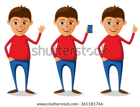 Young man in three versions. Gesticulating and showing smartphone. Caricature. Cartoon. Flat. Set. - stock vector