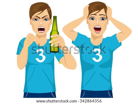 young man in two different poses watching sports on tv grabbed his head screaming and drinking beer - sports, happiness and people concept - stock vector