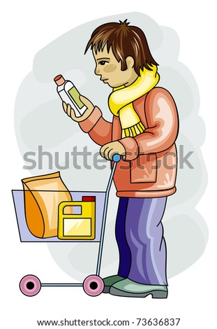 Young man is buying a household chemistry