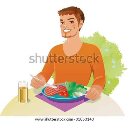Young man is having steak for the lunch - stock vector