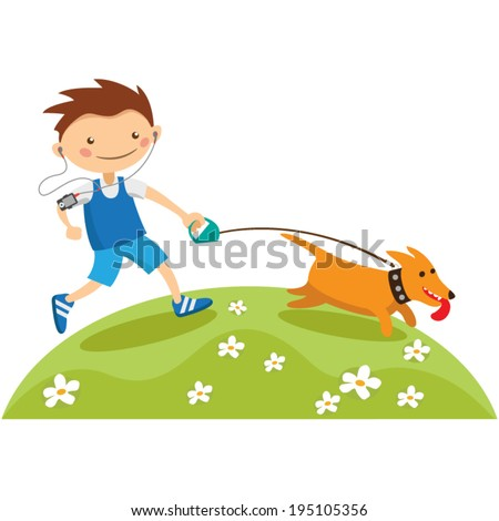 Young man jogging with his dog - stock vector