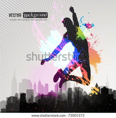 Young man jumping over city background. - stock vector