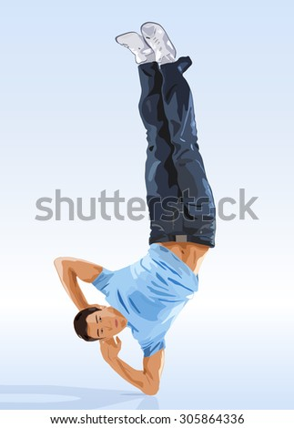 Young man modern dance. - stock vector