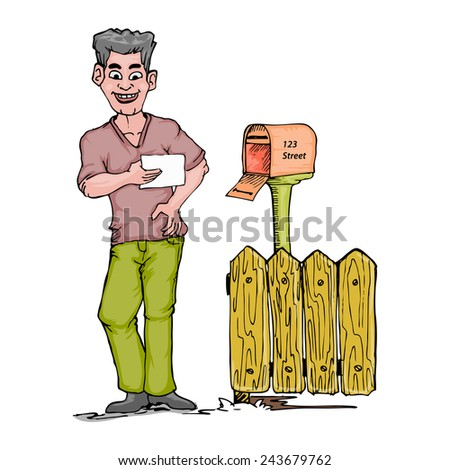 young man open mail box and holding letter isolated on white - stock vector
