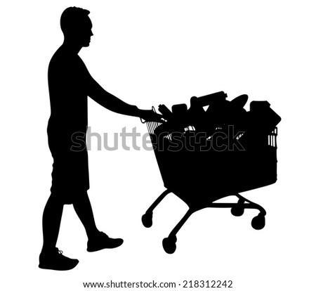 Young man pushing shopping cart full of supplies isolated on white background, vector  - stock vector