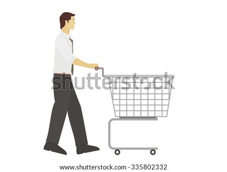 young man pushing trolley - stock vector