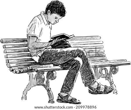 young man reading - stock vector