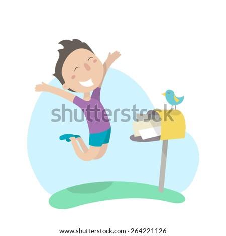 Young man rejoices the good news near mailbox. Flat design, vector illustration. - stock vector