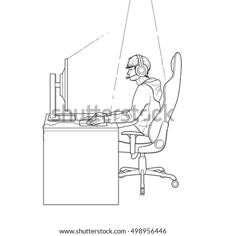 Young man sitting at the table and playing computer. Side view. Cyber sport concept. Coloring book page design for adults and kids.