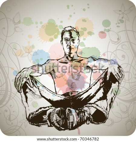 young man sitting & floral calligraphy ornament - a stylized orchid & color paint background - stock vector
