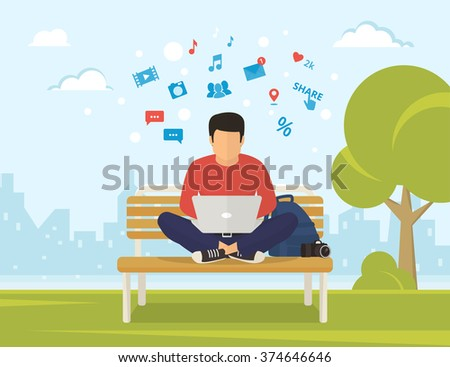 Young man sitting in the park on the bench and working with laptop. Flat modern illustration of social networking and texting to friends - stock vector