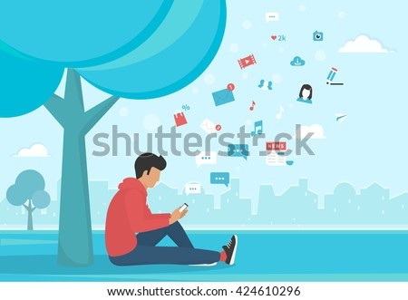 Young man sitting in the park under a tree and texting messages using smartphone. Flat modern illustration of social networking, searching and sending email and texting to friends - stock vector