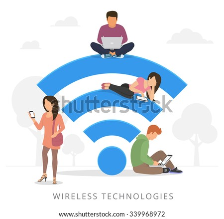 Young man sitting on the wi-fi blue sign and using laptop, girl reading news on tablet pc, woman holds smartphone and teenager sitting with laptop. Flat illustration of social networking with gadgets  - stock vector