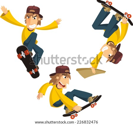 young man skateboarding cartoon
