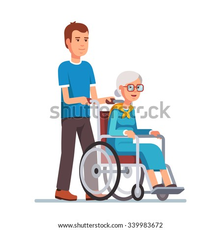 Young man strolling with his grandmother in wheelchair. Flat style vector illustration isolated on white background. - stock vector