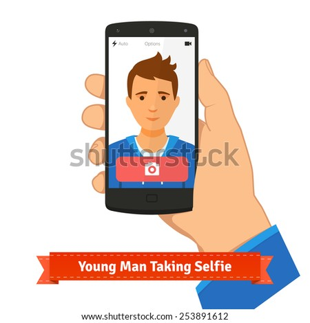 Young man taking selfie photo picture holding smart phone. Flat style illustration or icon. EPS 10 vector. - stock vector