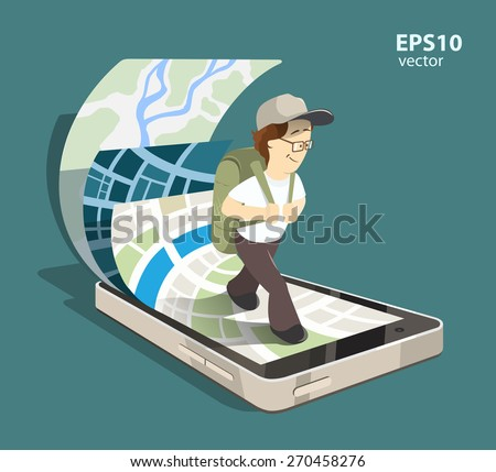 Young man tourist using mobile navigation system on his smartphone. Isolated color creative concept illustration - stock vector