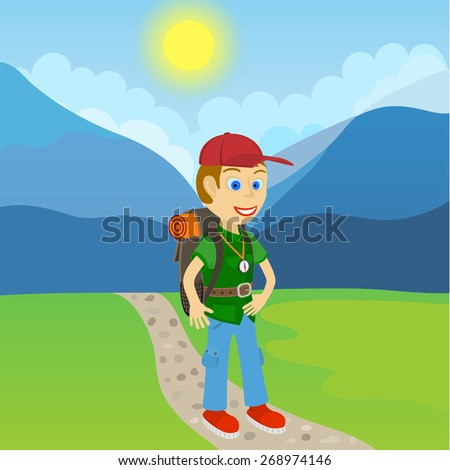 Young man tourist with a backpack standing on a path at the foot of the mountain - stock vector