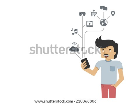 young man using phone - creative vector background with copyspace - stock vector