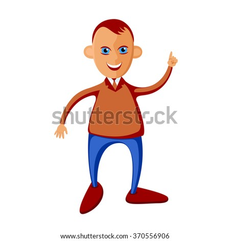 Young man with a raised index finger in a tie. Character style flat. Cartoon. Caricature. - stock vector