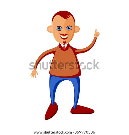 Young man with a raised index finger in a tie, with a mustache and a beard. Character style flat. Cartoon. Caricature. - stock vector