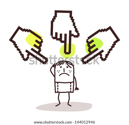 young man with big pointing cursor hands - stock vector