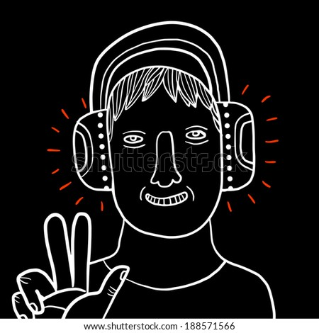 young man with headphones - stock vector