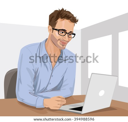 Young man with his laptop in the room. Man using laptop. Man searching the web, using internet. Friendly staff sitting in front of laptop at his workplace. Wearing eyeglasses. - stock vector