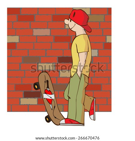 Young man with skateboard, wearing a baseball cap and sneakers, standing near a brick wall - stock vector