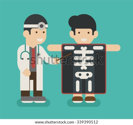 Young man with x-ray screen showing skeleton , eps10 vector format - stock vector