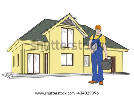young man working in the background at home. builder. in overalls and tools. vector illustration. - stock vector