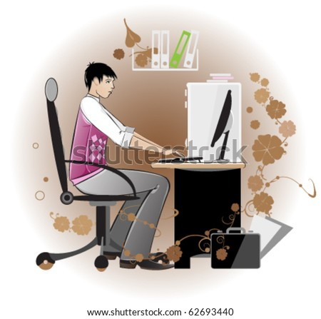Young man works on a computer - stock vector