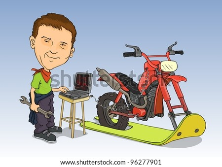 Young mechanic with his own hands constructed on snowmobiles - stock vector