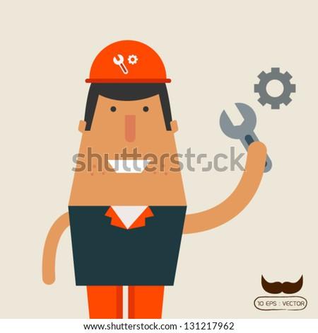Young Mechanics - stock vector