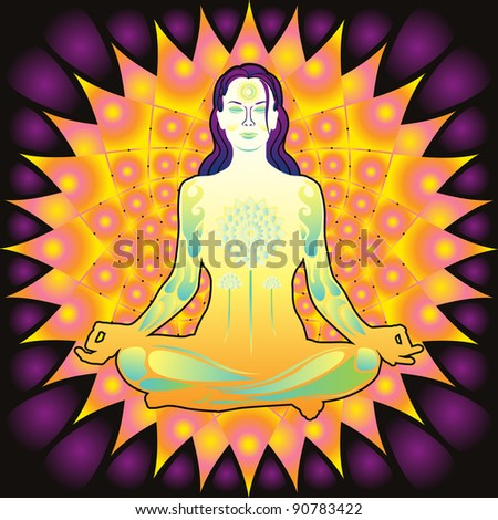 Young meditating woman colorful vector illustration - stock vector