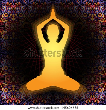 Young meditating woman silhouette sitting in praying posture on a psychedelic ornament background vector illustration - stock vector