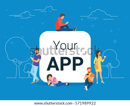 Young men and women are standing near big mobile app symbol and using their smart phones, reading news and texting message to friends. Flat concept illustration of white app blank on blue background