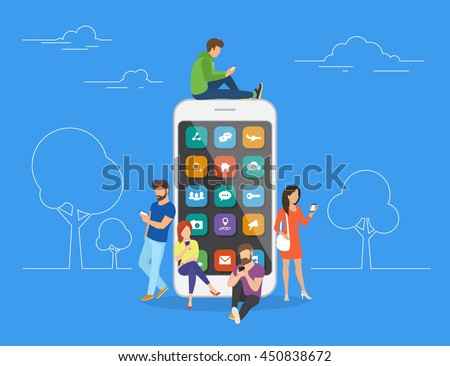 Young men and women are standing near big smartphone and using their own smart phones, reading news and texting message to friends. Flat concept illustration of smartphone usability on blue background - stock vector