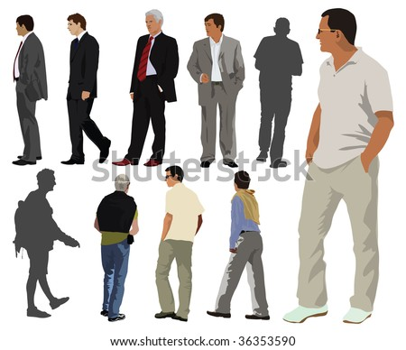Young men color collection. Few are dressed in suit and the rest casual summer clothes. Two of them just silhouettes. - stock vector