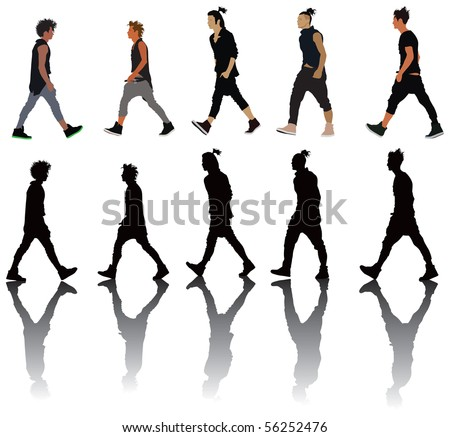 Young men presenting new trends in fashion. Vector color illustration. - stock vector